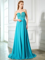A-Line Strapless Empire Waist Beaded Bodice Prom Dress With Cutouts