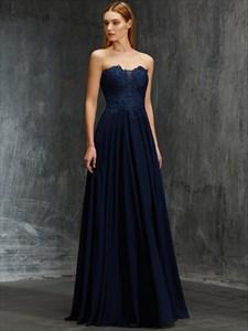 Navy Blue A-Line Strapless Lace Bodice Chiffon Bottom Evening Dress
