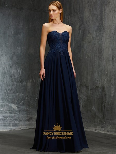 Navy Blue A-Line Strapless Lace Bodice Chiffon Bottom Evening Dress