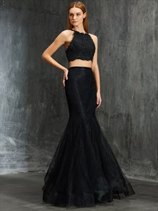 Black Two Piece Mermaid Sleeveless Long Prom Dress With Lace Bodice