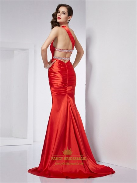Elegant Red One Shoulder Drop Waist Mermaid Evening Dress With Cutouts