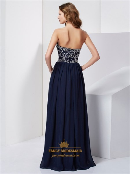 Navy Blue A-Line Strapless Floor Length Prom Dress With Beaded Bodice