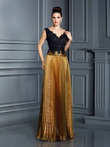 Elegant A-Line Lace Bodice V-Neck Cap Sleeve Prom Dress With Open Back