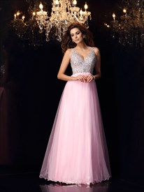 Pink Backless Sleeveless V Neck Beaded Bodice A-Line Long Prom Dress