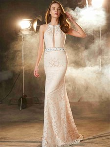 Halter Sleeveless Jewel Embellished Mermaid Open Back Lace Prom Dress