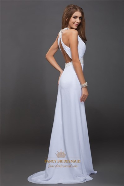 White A-Line Chiffon Criss Cross Open Back Prom Dress With Front Split