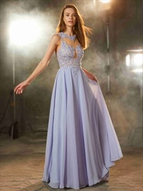 A-Line Cut Out Waist Chiffon Sleeveless Prom Gown With Illusion Bodice