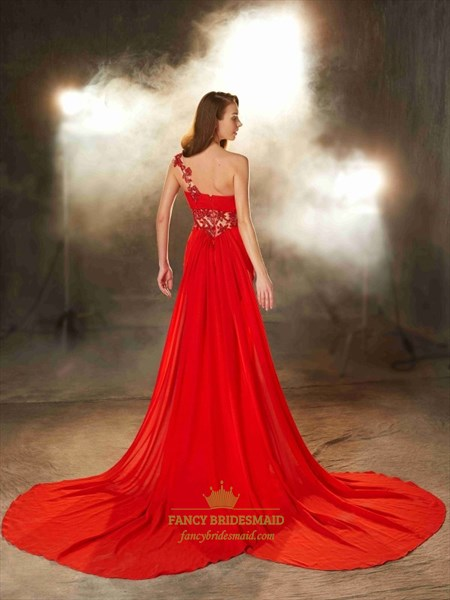 Red One Shoulder Sweetheart Beaded Waist Chiffon Prom Dress With Train