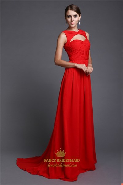 Chic Red Floor Length Sleeveless A Line Evening Dress With Open Front