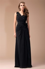 Black Empire Waist V-Neck Beads Embellished Chiffon Long Prom Dress