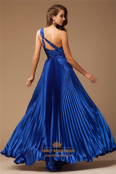 Royal Blue One Shoulder Ruched Formal Dress With Beaded Empire Waist