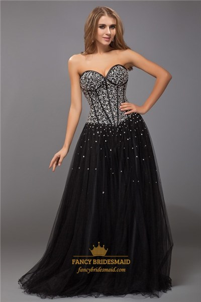 Strapless Sweetheart Beaded Bodice A-Line Tulle Floor Length Prom Gown