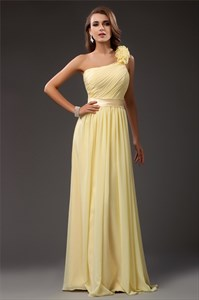 Light Yellow One Shoulder Ruched Bodice Prom Dress With Flower Strap