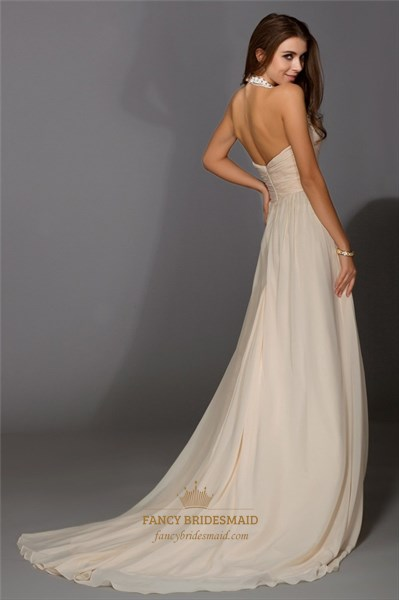 Halter V Neck Chiffon A-Line Open Back Long Prom Dress With Sequins