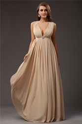 Plunge V Neck Empire Waist A-Line Floor Length Sleeveless Prom Dress