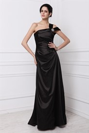 Elegant A-Line One Shoulder Floor Length Evening Dress With Open Back