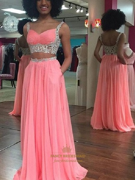 Two-Piece A-Line Sleeveless Lace Embellished Chiffon Long Prom Dress