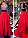 Two Piece A-Line Beaded Bodice Red Satin Prom Dress With Keyhole Back