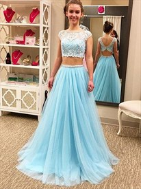 Light Blue Cap Sleeve Lace Bodice Tulle Bottom Two-Piece Prom Dress