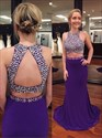 Purple Sleeveless Mermaid Two Piece Prom Dress With Keyhole Open Back