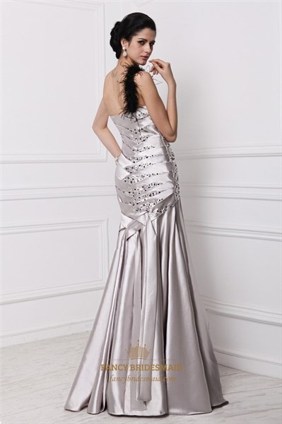 Strapless Dropped Waist Floor Length Prom Dress With Beads Embellished