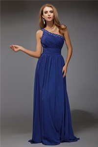 Royal Blue One Shoulder Ruched Empire Waist Chiffon Long Prom Dress