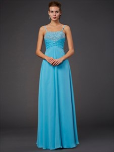 Aqua Blue Spaghetti Strap Empire Waist A-Line Chiffon Long Prom Dress