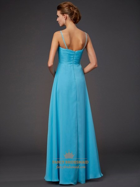Aqua Blue Spaghetti Strap Empire Waist A-Line Chiffon Long Prom Dress