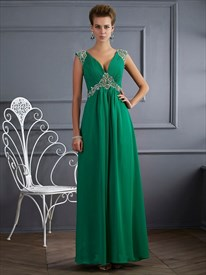 Emerald Green A-Line Jeweled Cap Sleeve V-Neck Open Back Prom Dress