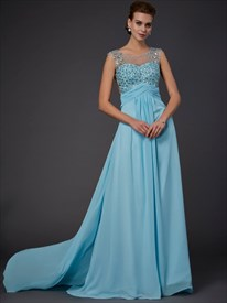 Illusion Aqua Blue Sleeveless Beaded Bodice Prom Dress With Open Back