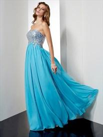 Aqua Blue Strapless Floor Length Empire Waist Chiffon A-Line Prom Gown
