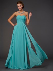 Simple Strapless Sweetheart Empire Waist A-Line Long Bridesmaid Dress