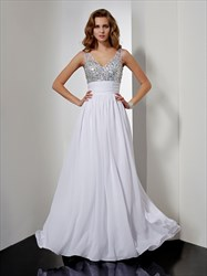 White Sleeveless V Neck Beaded Chiffon A-Line Prom Gown With Open Back