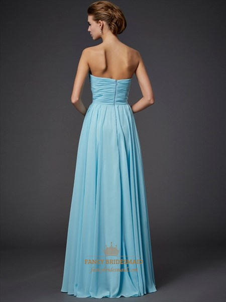 Simple Aqua Blue Strapless Floor Length A-Line Beaded Chiffon Dress