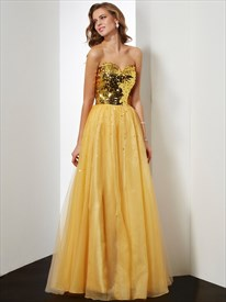 A-Line Strapless Sweetheart Sequin Bodice Floor Length Evening Dress