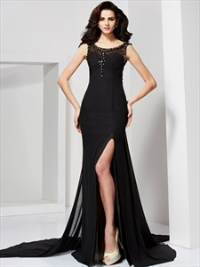 Black Sleeveless Long Mermaid Prom Dress With Illusion Beaded Bodice