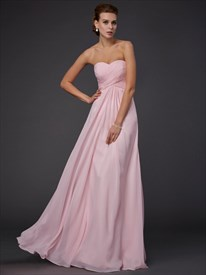Blush Pink Empire Waist Strapless A-Line Chiffon Dress With Cutouts