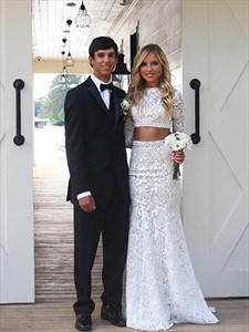 Elegant Two Piece Long Sleeve Floor Length Mermaid Lace Wedding Dress