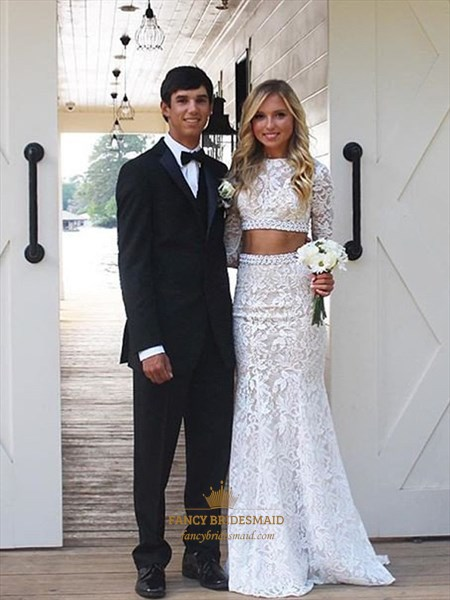 Elegant Two Piece Long Sleeve Floor Length Mermaid Lace Wedding Dress
