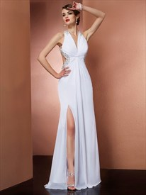 Sleeveless White Jeweled Chiffon Cut Out Waist Prom Dress With Split