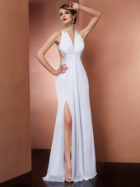 Sleeveless White Jeweled Chiffon Cut Out Waist Prom Dress With Split