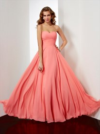 Simple Floor Length A Line Strapless Sweetheart Neck Bridesmaid Dress