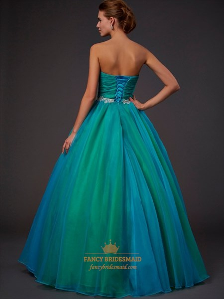 Green Strapless Sweetheart A-Line Satin Ball Gown With Chiffon Overlay