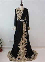 Vintage Black Sequin Embellished A-Line Prom Dress With Long Sleeve