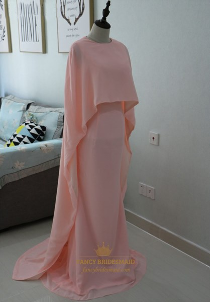 Elegant Simple Blush Pink Floor-Length Chiffon Prom Dress With Cape