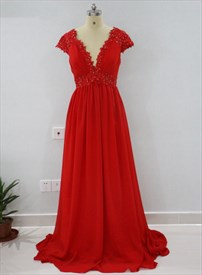 Red Cap Sleeve Plunge V-Neck Empire Waist Beaded Chiffon Prom Dress