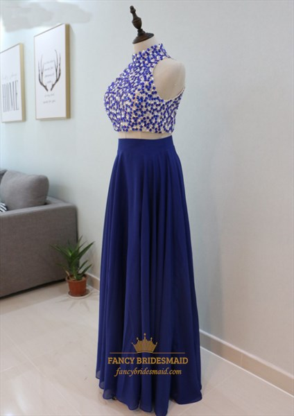 Royal Blue Two Piece Sleeveless High-Neck Prom Dress With Beaded Top