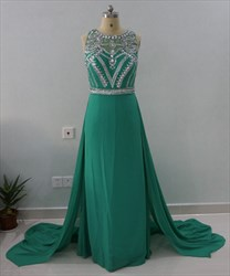 Emerald Green Sleeveless Beaded Bodice A-Line Prom Dress With Train