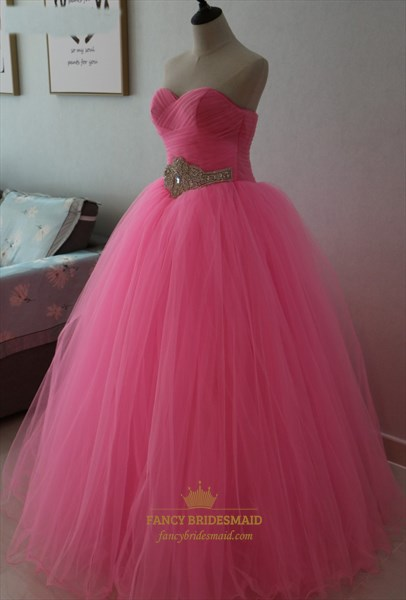 Hot Pink A-Line Strapless Ruched Top Embellished Waist Tulle Ball Gown