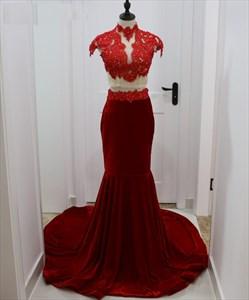 Burgundy Two-Piece Cap Sleeve High Neck Lace Bodice Mermaid Prom Dress